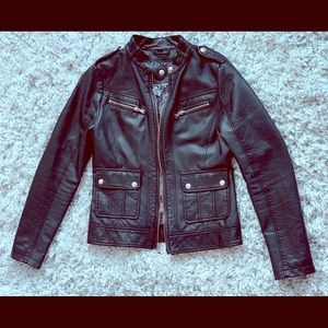 Guess | Black Faux Leather Motto Jacket